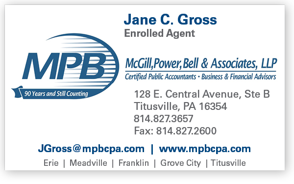 Jane Gross, Business Card for McGill, Power, Bell & Associates, LLP